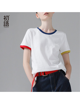 Toyouth Hit Color Edge Tees For Women Basic Cotton T Shirt Casual O Neck Tee Shirt Femme S~Xxl Summer Tops Short Sleeve T Shirts by Toyouth