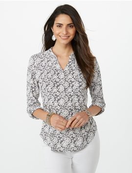 Pearl Bead Puff Print Popover by Dressbarn