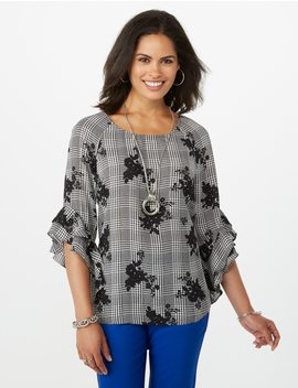 Floral Flared Sleeve Blouse by Dressbarn