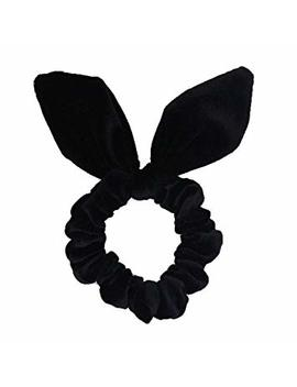 Set Of 2 Korean Style Velvet Rabbit Ear Bow Bowknot Ponytail Holder Hair Tie Band Hair Scrunchies (Black) by Susulu