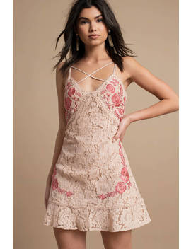Avery Nude Embroidered Lace Dress by Tobi