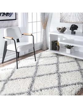 "Nu Loom Cozy Soft And Plush Diamond Trellis Shag Area Rug, White, 9' 2"" X 12' by Nu Loom"