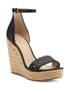Women's Jamie Perforated Leather Espadrille Wedge Sandals by Botkier
