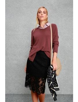 Little By Little Black Lace Midi Skirt by Lulus