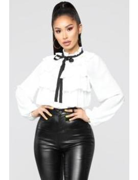 Right Now Ruffle Top   White/Black by Fashion Nova
