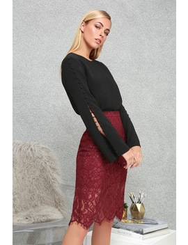 Little By Little Burgundy Lace Midi Skirt by Lulus