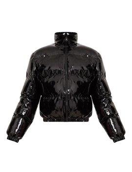 Shiny Pvc/Vinyl Down Jacket (Short Puffer Bomber)   Black, Red, Purple, White   Xs, S, M, L, Xl by Etsy