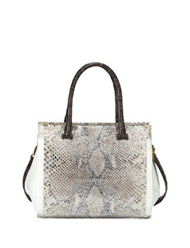 Medium Python And Crocodile Tote Bag, Gray by Nancy Gonzalez
