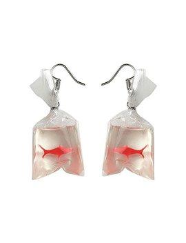 Genuiskids Women Funny Goldfish Water Bag Shape Dangle Hook Earrings Female Charm Jewelry by Genuiskids