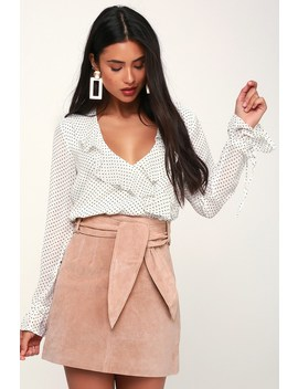 Candy Crush Blush Pink Suede Leather Mini Skirt by Blank Nyc
