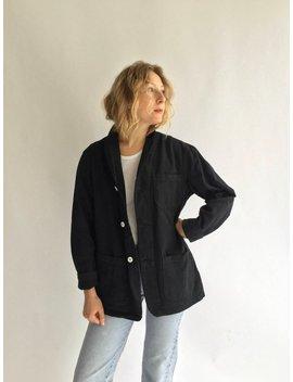 Vintage Black Overdye Chore Jacket | Cotton French Workwear Style Utility Work Coat Blazer Xs S M L Xl by Etsy