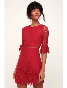 In The Moment Wine Red Lace A Line Dress by Bb Dakota
