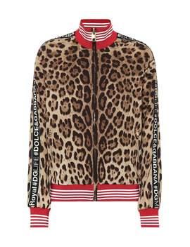 Leopard Stretch Silk Track Jacket by Dolce & Gabbana
