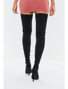 Black Round Toe Over The Knee Heeled Boots by Missguided