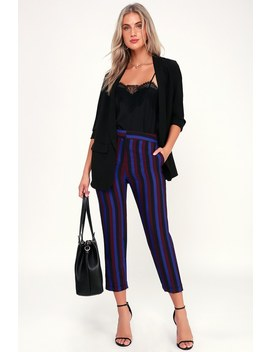 Business And Pleasure Royal Blue Striped Trouser Pants by Lulus