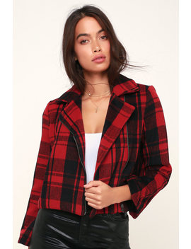 Out Of The Woods Red Plaid Jacket by Lulus