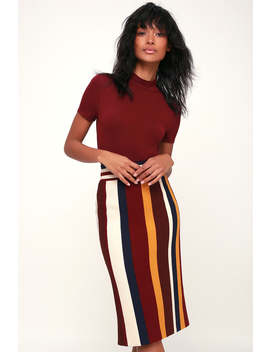 Style Promotion Burgundy Multi Striped Ribbed Knit Pencil Skirt by Lulus