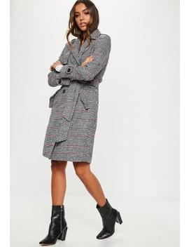 Black Check Formal Belted Trench by Missguided