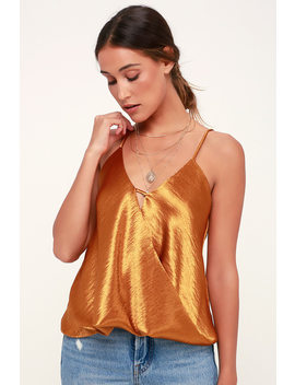 Evelynn Dark Gold Satin Surplice Top by Lulus