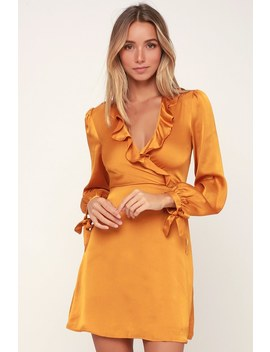 Dawn Golden Yellow Satin Long Sleeve Surplice Dress by Lost + Wander