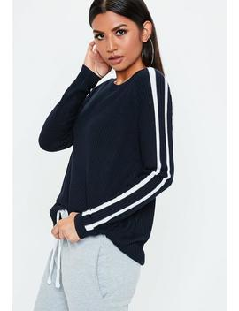 Navy Stripe Ragen Ribbed Jumper by Missguided