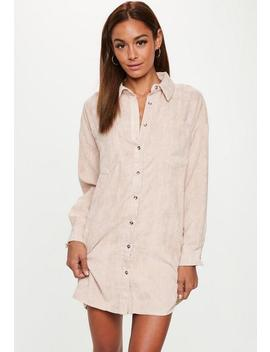 Nude Courduroy Shirt Dress by Missguided