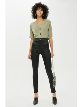 Petite Black Sateen Joni Jeans by Topshop