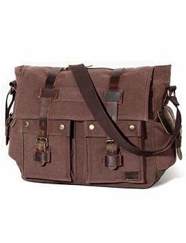"Lifewit 15.6"" Men's Messenger Bag Vintage Canvas Leather Military Shoulder Laptop Bags by Lifewit"
