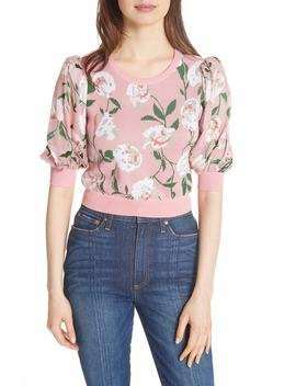 Brandy Floral Puff Crop Sweater by Alice + Olivia