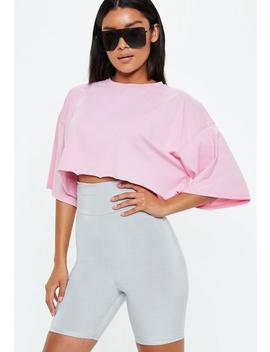 Pink Drop Shoulder Oversized Cropped T Shirt by Missguided