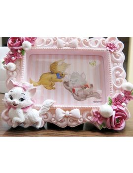 Disney Store Aristo Cat Marie Photo Stand Frame Pink Rose Figure Stand Japan Fs by Disney Store