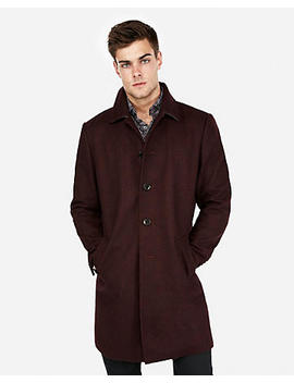 Burgundy Recycled Wool Blend Topcoat by Express