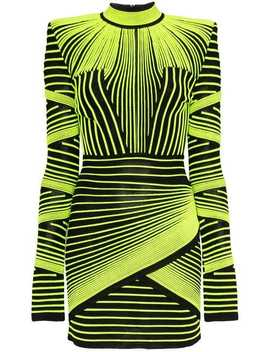 Neon Stripe Mini Dress by Balmain