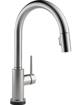 Delta Faucet Trinsic Single Handle Touch Kitchen Sink Faucet With Pull Down Sprayer, Touch2 O Technology And Magnetic Docking Spray Head, Arctic Stainless 9159 T Ar Dst by Delta Faucet