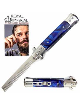 Royal Imperial Metal Switchblade Pocket Folding Flick Hair Comb For Beard, Mustache, Head Blue... by Royal Imperial