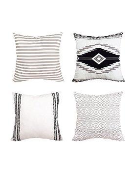 """Bleum Cade Pillow Cover Cushion Cover Modern Decorative Throw Pillow Case For Sofa Couch Bed And Car Set Home Decor 4 Packs (Simple Strings, 18""""X 18"""") by Bleum Cade"""