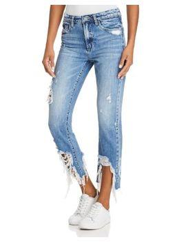 Distressed Step Hem Straight Leg Jeans In Happy Hour by Blanknyc