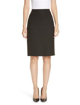 Valeta Soft Twill Faux Leather Detail Pencil Skirt by Boss