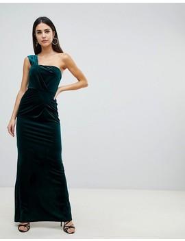Asos Design One Shoulder Velvet Maxi Dress With Ruched Detail by Asos Design