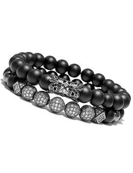 "Meangel 8mm Charm Beads Bracelet For Men Women Black Matte Onyx Natural Stone Beads, 7.5"" by Meangel"