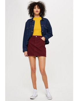 Burgundy Denim Skirt by Topshop