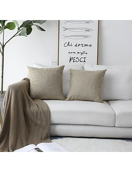 Home Brilliant Burlap Linen Textured Cushion Covers Decorative Throw Pillow Cover For Sofa Couch Bed, Set Of 2, Natural Linen by Home Brilliant