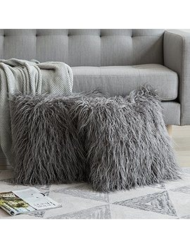 Miulee Pack Of 2 Decorative New Luxury Series Style Grey Faux Fur Throw Pillow Case Cushion Cover For Sofa Bedroom Car 20 X 20 Inch 50 X 50 Cm by Miulee