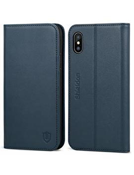 """I Phone Xs Case, Shieldon Genuine Leather I Phone X Wallet Flip Case With Card Holder Slot Kickstand Magnetic Closure Durable Protective Case Compatible With I Phone X/Xs (5.8"""")   Blue by Shieldon"""