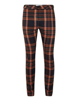 Navy And Orange Check Stretch Skinny Pants by Topman