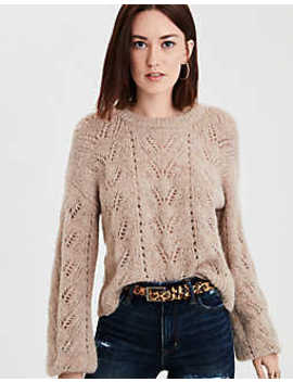 Ae Slouchy Cropped Pointelle Sweater by American Eagle Outfitters