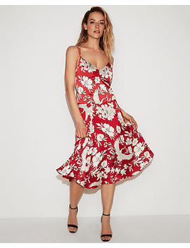 Super High Waisted Floral Bird Midi Skirt by Express