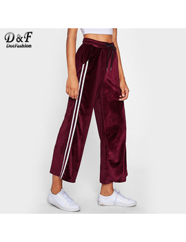 Dotfashion Striped Tape Side Velvet Wide Leg Pants 2017 Autumn Burgundy Mid Waist Trousers Woman Elastic Waist Pants  by Dotfashion