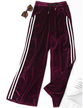 Kenancy 2017 Autumn Winter Velvet Pants Striped Joggers Women Patchwork Pants Hip Hop Loose Trousers by Kenancy