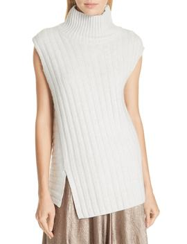 Mixed Rib Wool & Cashmere Sleeveless Sweater by Vince